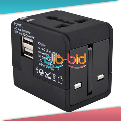 Travel Universal Power Adapter Socket Dual Usb Port